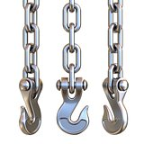 Three silver hook and chain 3D