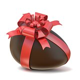 Chocolate Easter egg with red ribbon. 3D