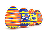 Row of colorful spring Easter eggs. 3D