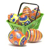 Easter eggs in green shopping basket. 3D