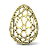 Gold egg ornament. 3D