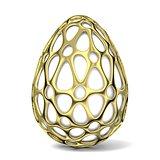 Gold egg ornament. 3D