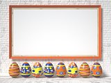 Easter eggs painted and blank picture frame. Easter concept. 3D