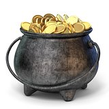 Iron pot full of golden coins 3D
