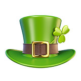 Green St. Patrick's Day hat with clover Front view 3D