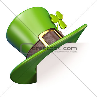 Green St. Patrick's Day hat with clover Paper corner 3D