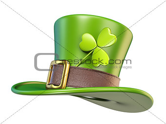 Green St. Patrick's Day hat with clover Side view 3D