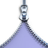 Metal zipper on purple background front view 3D