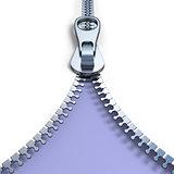 Metal zipper on purple background front view 3D
