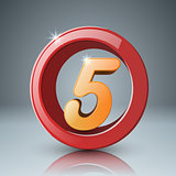 Five, 3d circle icon.