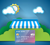 Bank, card, store, sale icon. Business infographic.