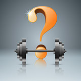 Question, barbell - 3d realistic icon.