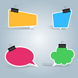 Speech bubbles, clip, pin icon. Dialog box info.