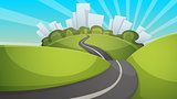 Cartoon summer landscape. City, hill, road illustration.