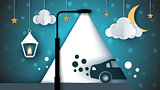 Cartoon paer landscape. Street lamp, bulb, light, car, cloud, moon.