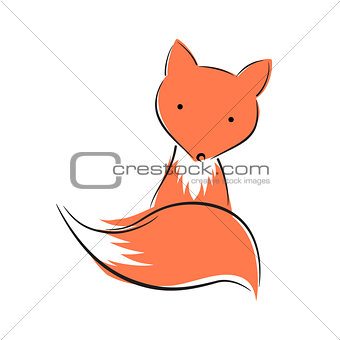 Cute, funny fox character. Animal illustration.