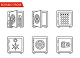 Safes Icons Set. Thin Line Vector Illustration