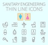 Sanitary engineering flat vector icon set