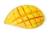 Mango slice cut to cubes isolated