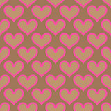 Pink beige hearts seamless background pattern
