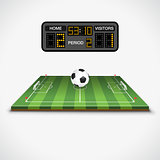 Soccer Field, Ball and Scoreboard