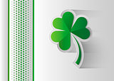 Happy Saint Patrick s Day celebration card with clover leaf. Paper cut