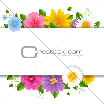Card With Flowers White Background