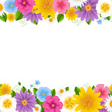 Flowers Frame White Background