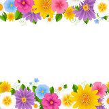 Flowers Frame White Background