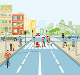 Road junction with people and cars