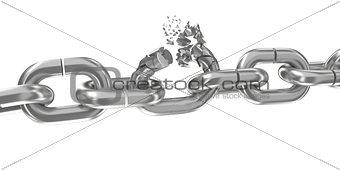 Broken chain on white 3D render