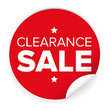 Clearance sale label red sticker