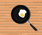 egg sunny on fry pan with wooden table background