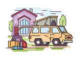 Van car for recreation or transfer