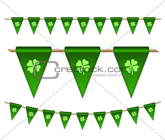 Green festive flags with clovers