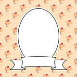 Vector frame on cupcake background