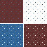 Tile blue, white and brown pattern set with polka dots