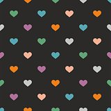 Tile vector pattern with hearts on black background