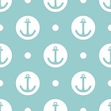 Tile sailor vector pattern with white anchor and polka dots on pastel background