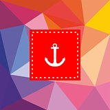 Nautical vector card with anchor on flat wrapping surface background