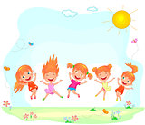 Joyful and happy children jumping on the grass