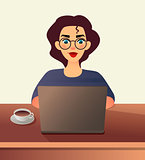 Girl freelancer. Young woman in glasses works at home sitting in front of a laptop. Cartoon flat girl working online or studying and learning while using notebook. Freelance work concept.