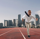 Businessman acts like a runner. Competition and challenge in business concept
