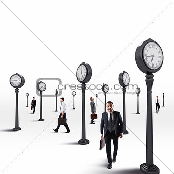 Business men always keep an eye on the clock. 3D Rendering