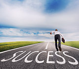 Man runs on a success way. Concept of successful businessman and company startup