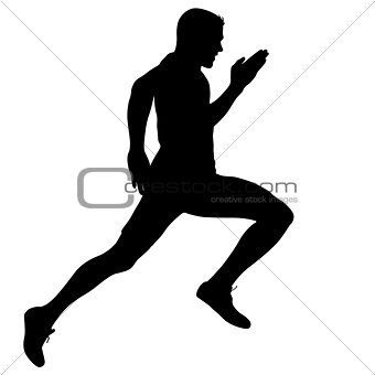 Black Silhouettes Runners sprint men on white background