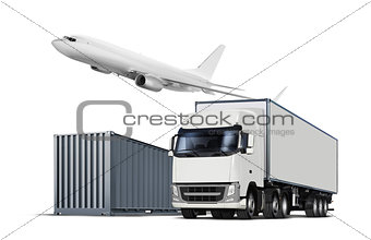 cargo transports on white