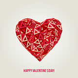 Happy Valentines Day card with low poly heart