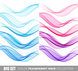 Set of color transparent smoky wave