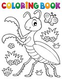 Coloring book praying mantis theme 1